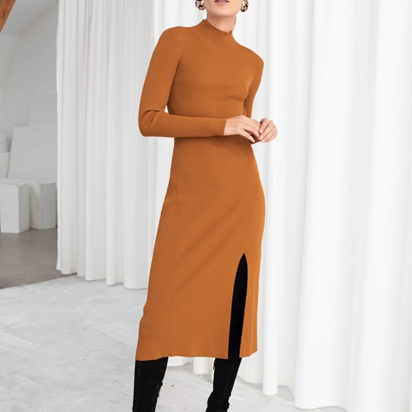 & Other Stories Dresses & Skirts - Knit High Neck Dress with Side Slit